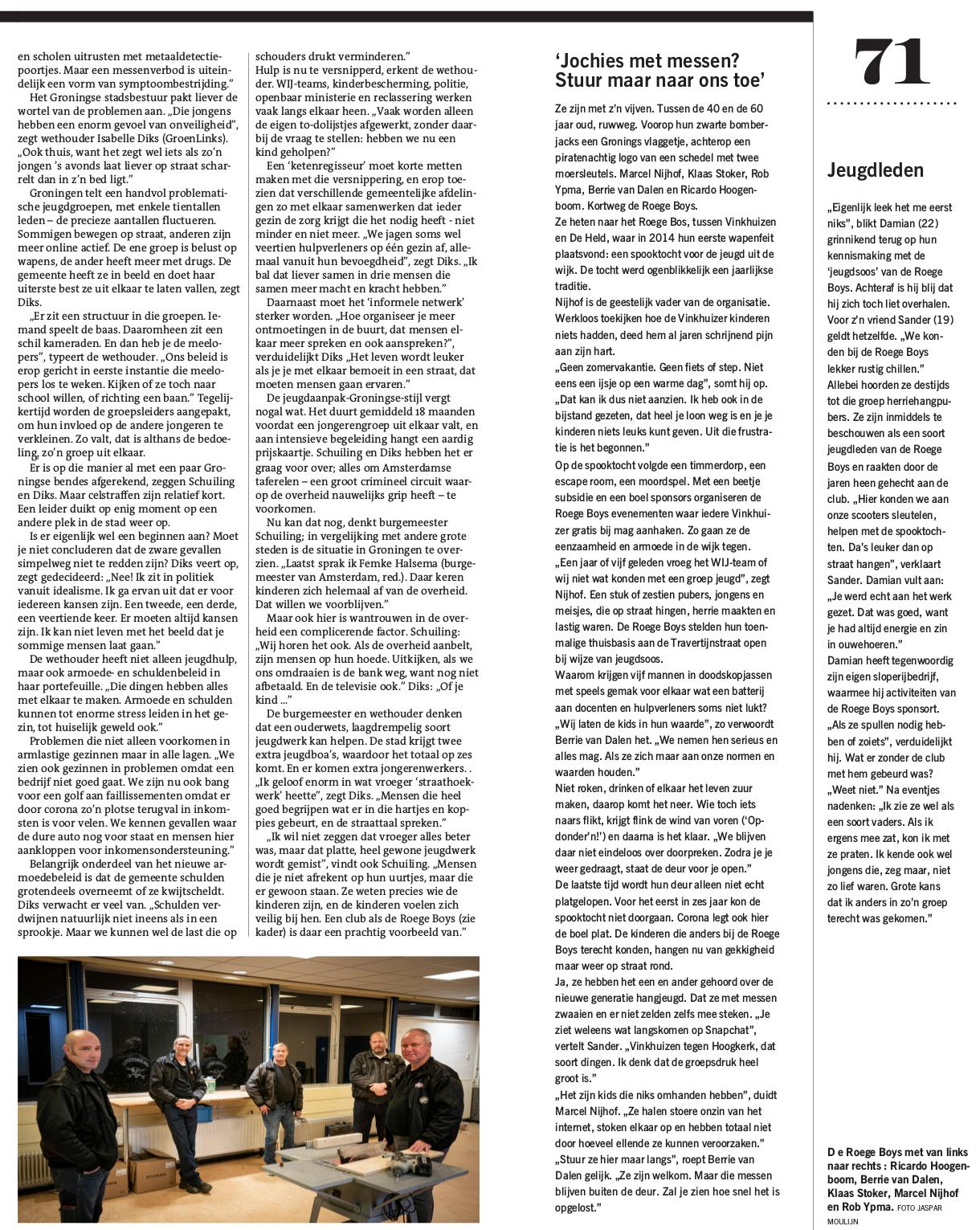 Artikel in Dagblad van het Noorden 23 januari 2021